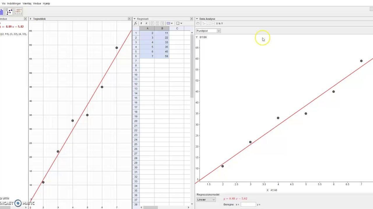 lineær regression og residualplot i Geogebra