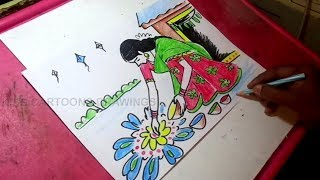 How to Draw Sankranti Festival Greeting Drawing for kids