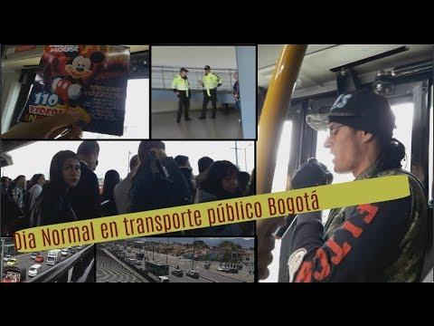 un dia normal de Transporte público en Bogotá Colombia
