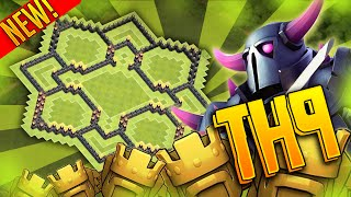 "Clash Of Clans - ""PUSH TO TITANS"" Town Hall 9 (TH9) - Trophy Base - Air Sweeper 2015"