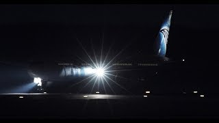 ✈✈(Night View)夜の成田空港 エジプト航空 (EgyptAir) Boeing 777-300 Landing Narita Airport RWY34R 成田空港!東雲の丘