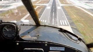 Beech-18 flight with open window  (Cockpit View)