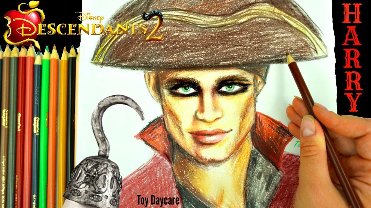 Disney DESCENDANTS 2 HARRY HOOK Drawing Learn HOW TO DRAW The New PIRATE