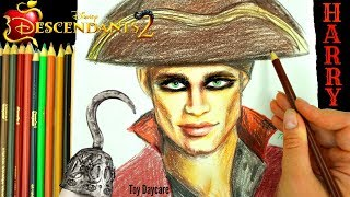 Disney DESCENDANTS 2 HARRY HOOK Drawing. Learn HOW TO DRAW The New PIRATE!