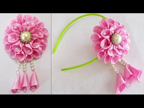DIY For Girls How To Make Kanzashi Beads Satin Ribbon