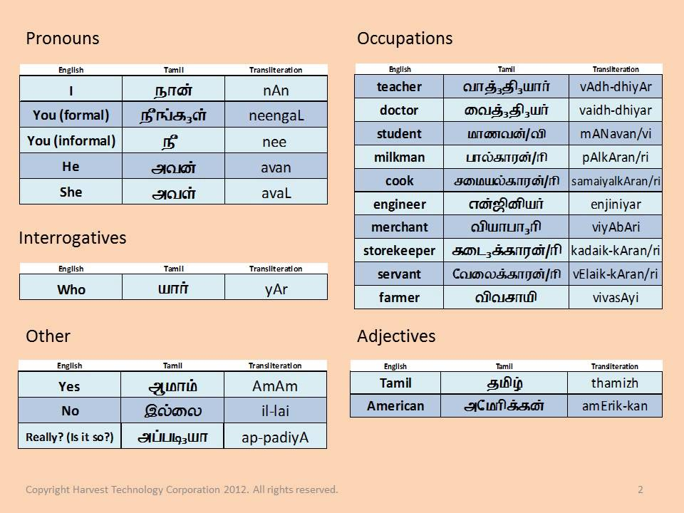 Tamil: Lesson 2 2 - Vocabulary