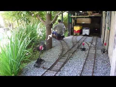 Ride-on backyard railroad (7) - Hand Power car - YouTube