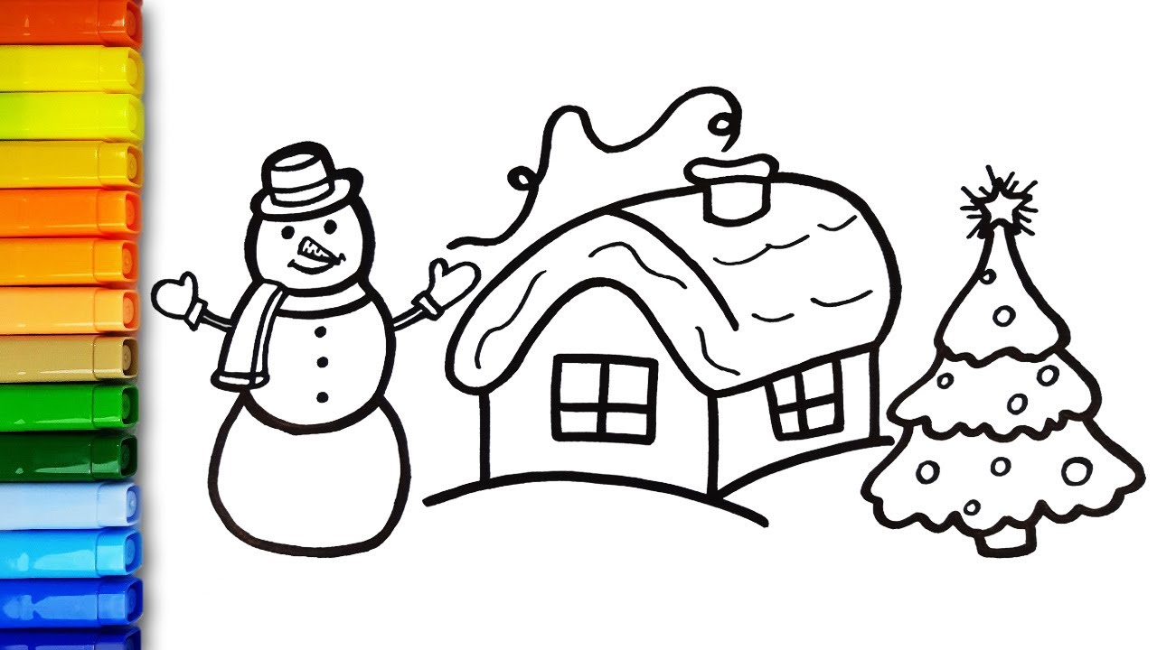 How to Draw Winter House and Snowman Easy ⛄ Simple Drawing Ideas and  Coloring Pages for Kids