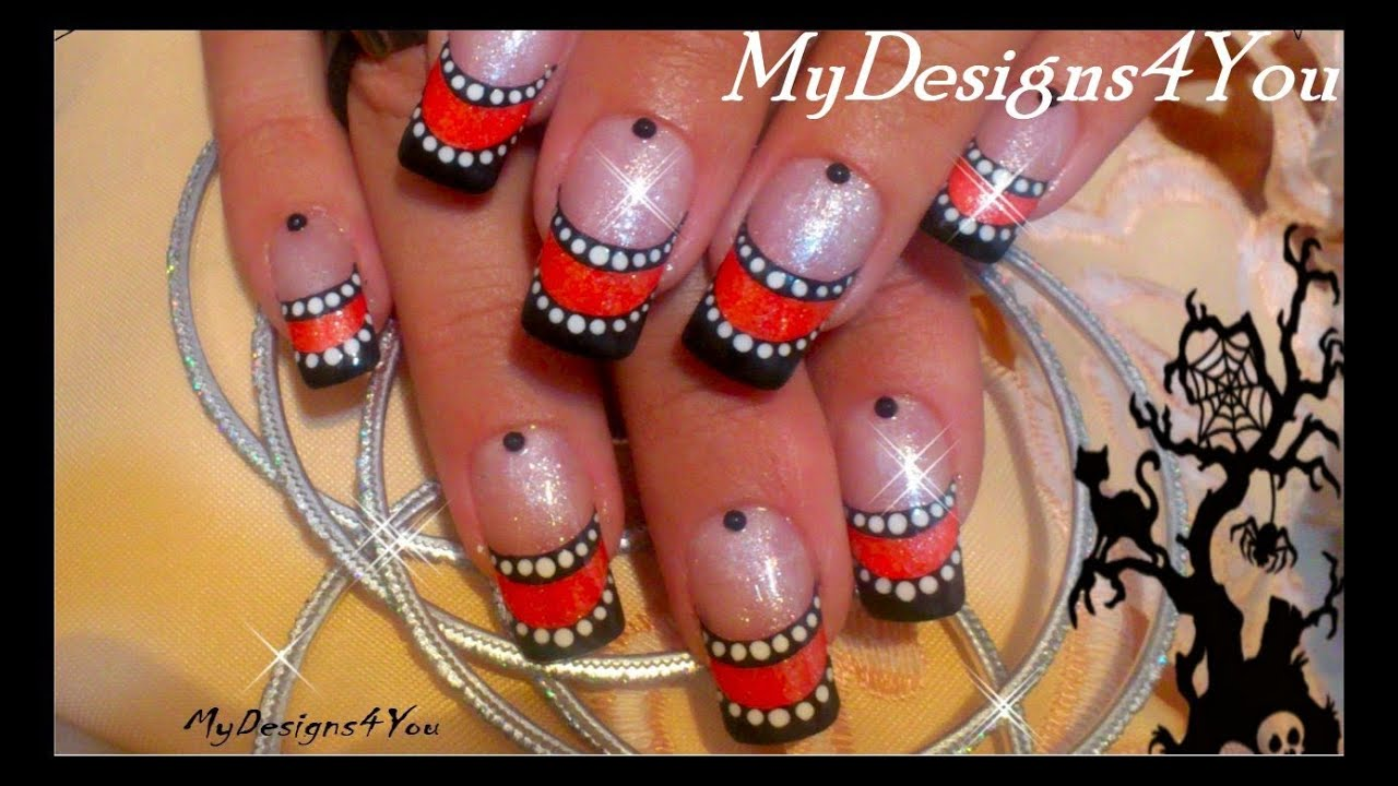 Easy Halloween Nails   Orange and Black French Tip ...