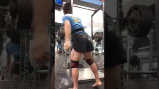 450 squat with knee wraps and belt, barely parallel   Paul Rockey