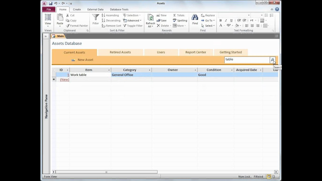 Microsoft Office Access 2010 -Use the Assets Web Database template ...