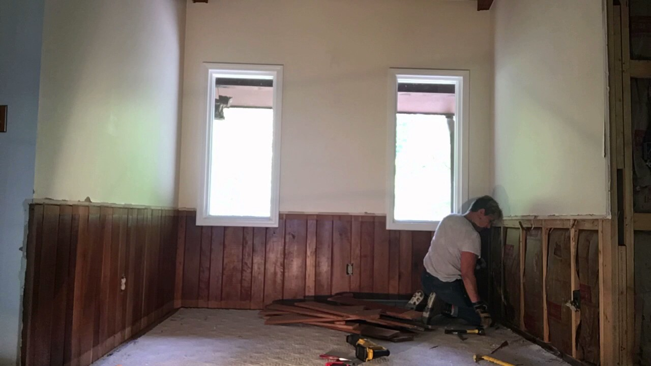 Removing pine tongue-and-groove wall paneling from the ...