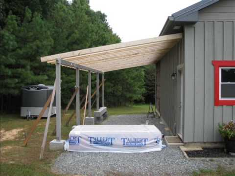 My diy barn lean to built with small office space youtube for Lean to addition to garage