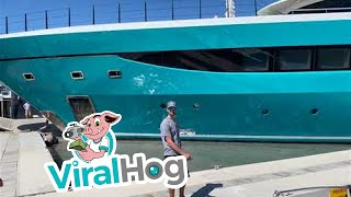 Out of Control Yacht Destroys Dock || ViralHog