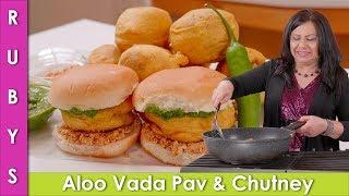 Aloo Vada Pav with Dry & Green Chutney Recipe in Urdu Hindi - RKK