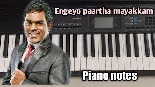  Engeyo paartha mayakkam   Yaaradi nee mohini   Dhanush   Yuvan shankar raja   Piano notes 