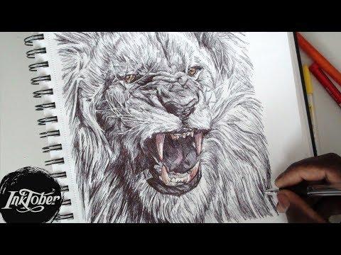 epic-lion-roar-pen-drawing---inktober-day-2-(2017)