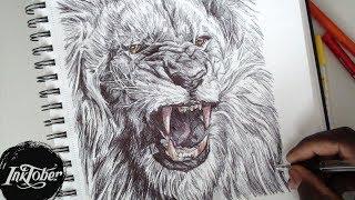 EPIC LION ROAR PEN DRAWING - INKTOBER DAY 2 (2017)