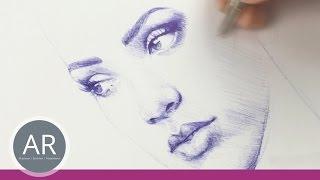 Gesichter zeichnen lernen. Mit Kugeschreiber lernt es sich am besten. Kurs Portraitzeichnung.