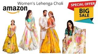 Women's Organza Lehenga Choli 2020 I Amazon Kurti Haul 2020   Amazon Embroidery Kurti Haul