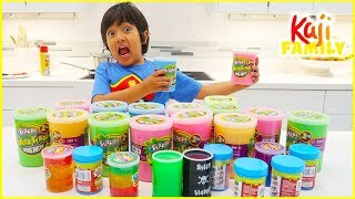 Mixing all my slime together DIY challenge! Satisfying slime with Ryan!