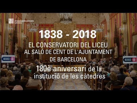 1838-2018: the Liceu Conservatory at the Saló de Cent in Barcelona City Hall