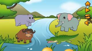Animal game, animal kingdom, get to know animals, cow, sheep, chicken, lion, zebra, giraffe ...