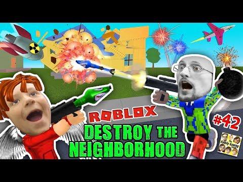 ROBLOX Destroy the Neighborhood w/ Airplane? AWESOME a 馃挬 Bomb! (FGTEEV Get Rich Destruction #42)