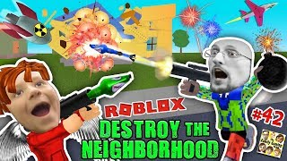 ROBLOX Destroy the Neighborhood w/ Airplane? AWESOME a 💩 Bomb! (FGTEEV Get Rich Destruction #42)