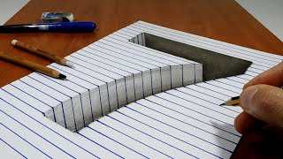 Draw a number 7 Hole on Line Paper   3D Trick Art