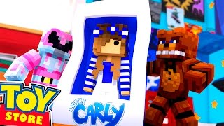 Minecraft Toy Store: SAVING BARBIE FROM FREDDY FASBEAR w/Little Carly and Little Kelly.