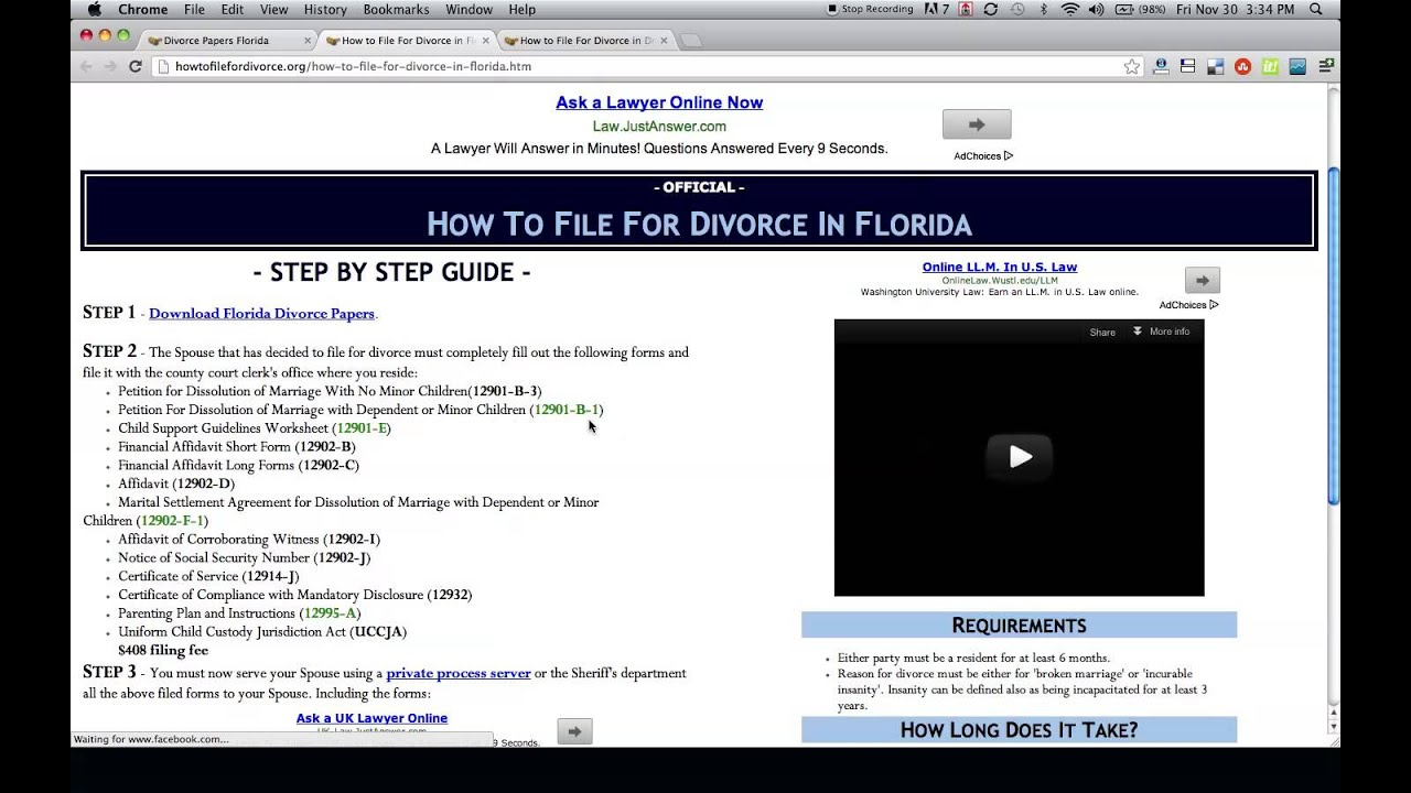 Free florida divorce papers and forms youtube solutioingenieria Choice Image