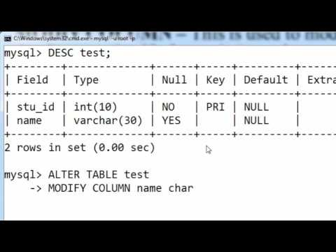 65. MODIFY COLUMN Data Type And Its Size With Or Without Constraint In SQL (Hindi)