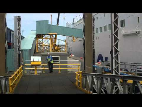 Entering Stenaline Ferry at Fishguard Port, South Wales