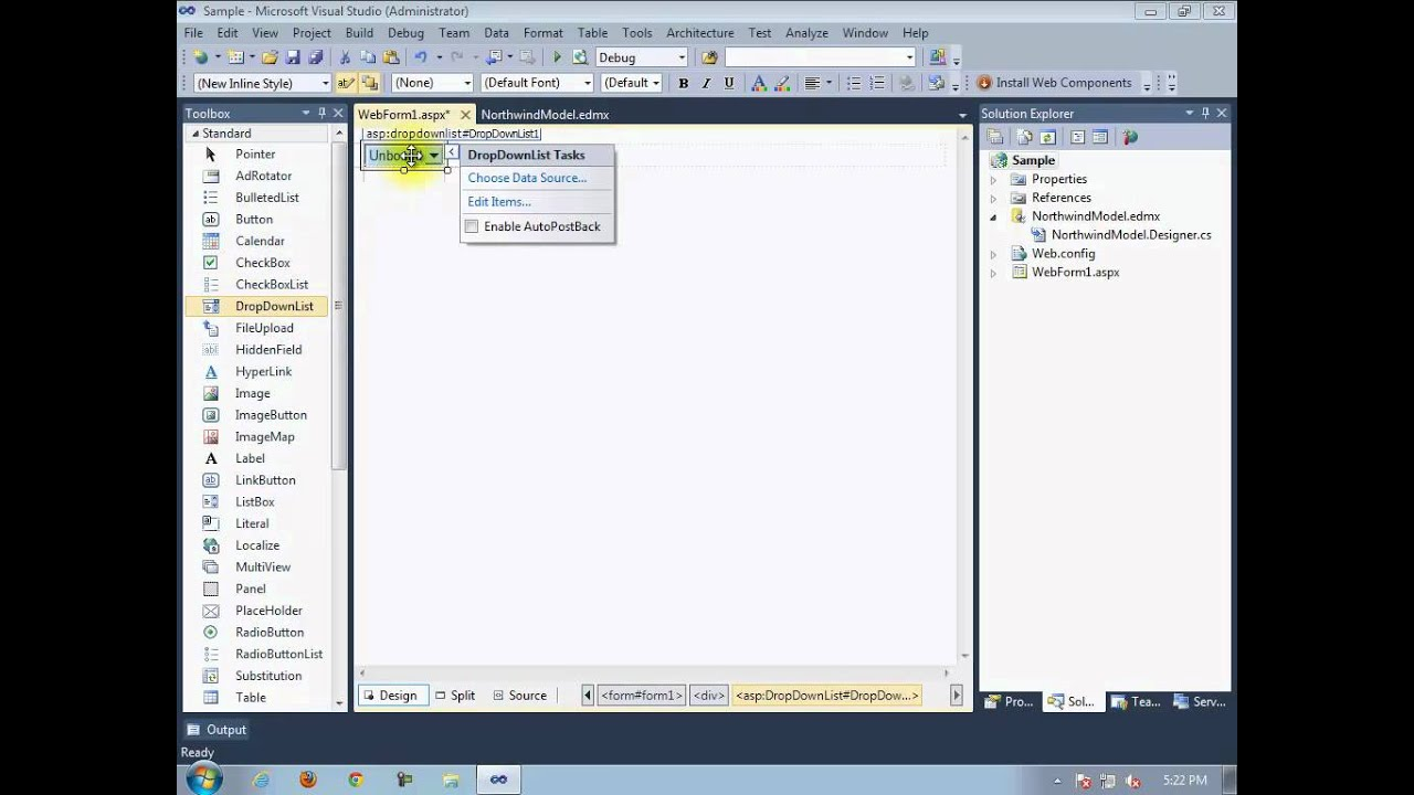 Master/Detail ASP NET data binding using Entity Framework
