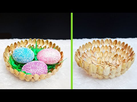 Best out of waste Easter Gift Basket with Pistachio shells at home |DIY Low budget Easter décor idea