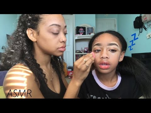 ASMR | Doing My Little Sisters Makeup | I MADE HER FALL ASLEEP !!  😴
