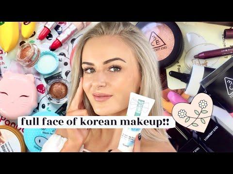 Full Face Using ONLY Korean Makeup!