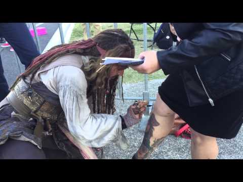 Johnny Depp signing my tattoos of his characters - Brisbane Australia Raby bay - pirates