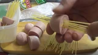 Вкусные рецепты.Простая Еда.Быстро,оригинально.Спагетти в сосисках. Вкусная еда.
