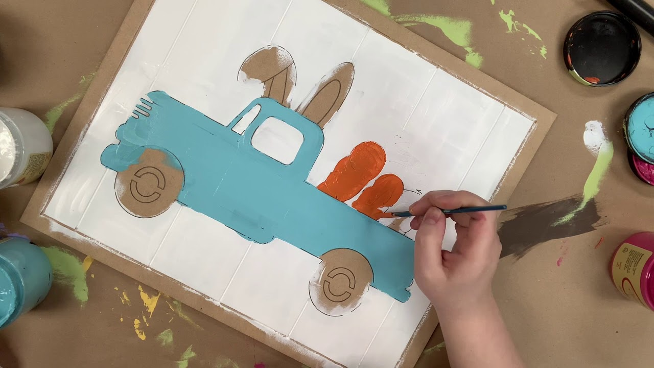 Antique Truck with Easter Bunny On Bead Board DIY Tutorial s7w16