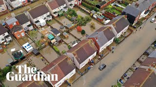 Aerial images show village near Doncaster partially submerged by flood water