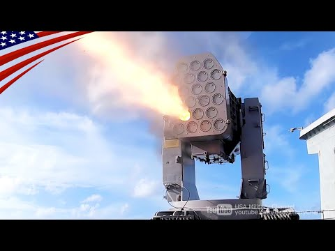 US Navy Ship Self-Defense System in Action - Launches RAM, Phalanx and Chaff