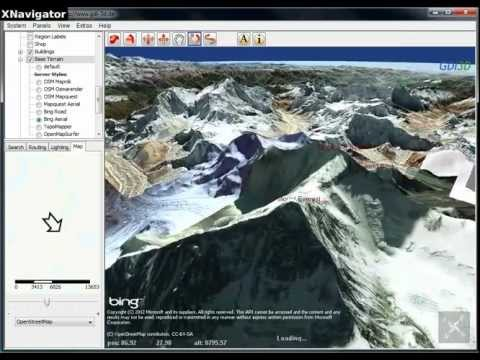 Mount Everest in XNavigator Virtual Globe South Route