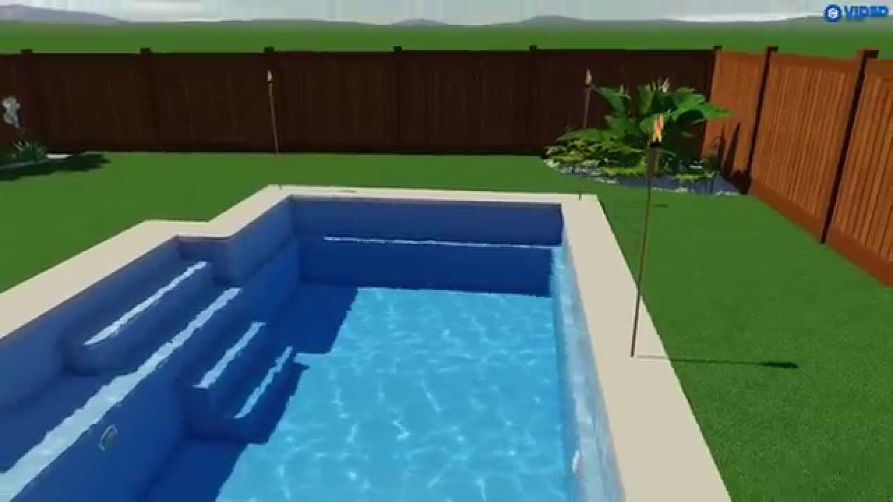 Fiberclassy pools 3d pool design the elegance 26 youtube for Pool design 3d