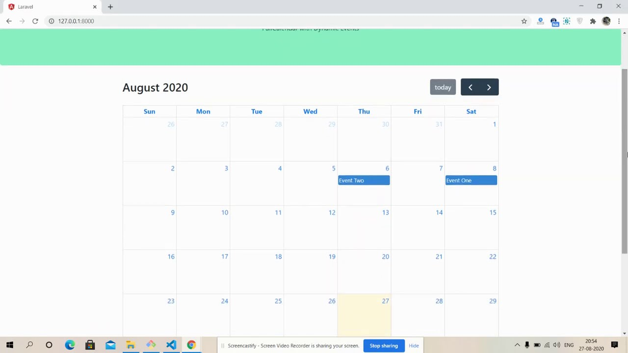 Vue Laravel 7 FullCalendar with Dynamic Events