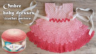 Деткое платье амбре крючком 🎀 Ombre baby dresses crochet pattern