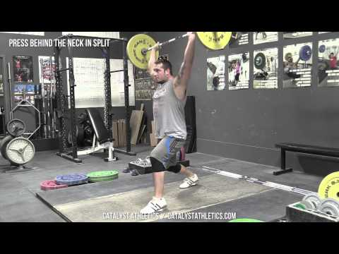 Press Behind the Neck in Split - Olympic Weightlifting Exercise Library - Catalyst Athletics