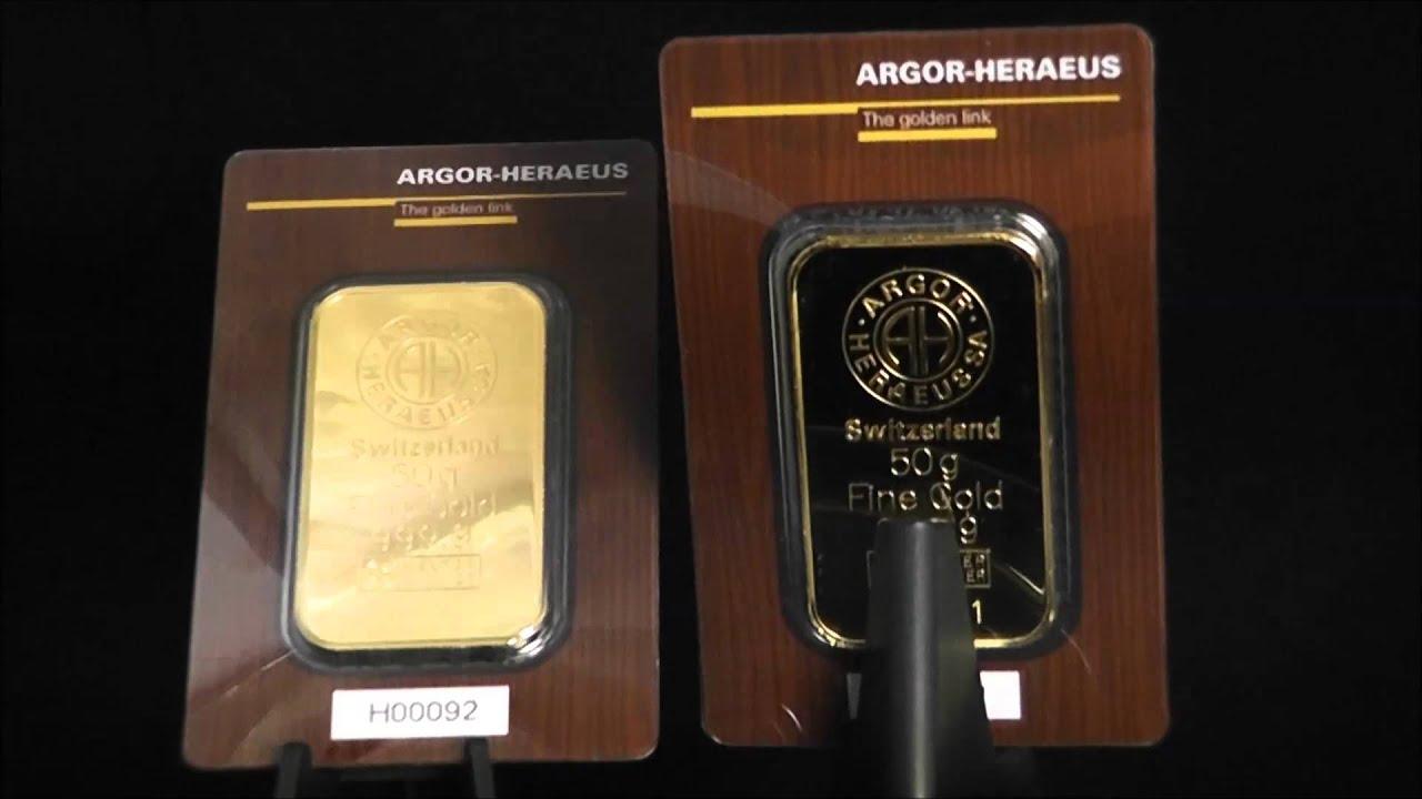 Argor Heraeus 24ct 50g Gold Bar Youtube