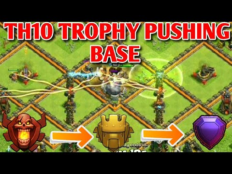 Clash Of Clans | Town Hall 10 Trophy Push Base with Replays | Th10 Trophy Saving Base | CoC